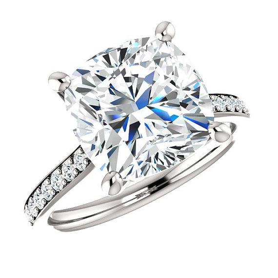 SUPERNOVA MOISSANITE Cushion Amp Diamond Engagement Ring 14k