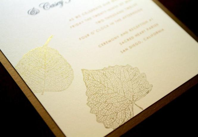 Hand Stamped Wedding Invitation Set