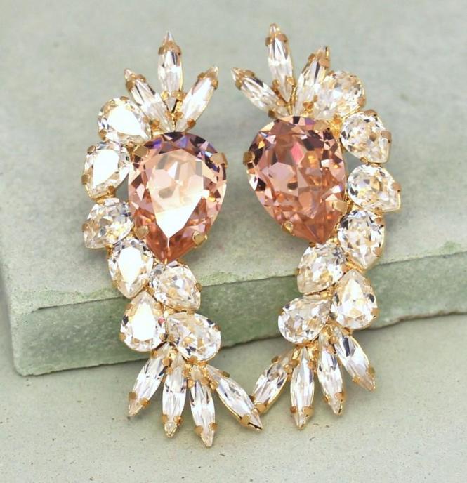 Bridal Crystal Earrings Blush Pink Chandelier Swarovski Statement