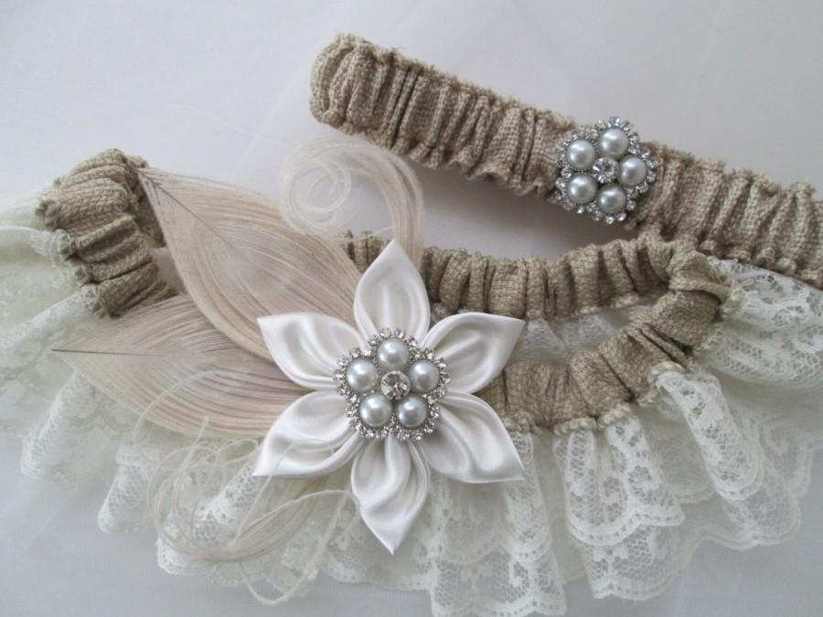 BURLAP Wedding Garter Set, Ivory Lace Garters, Peacock