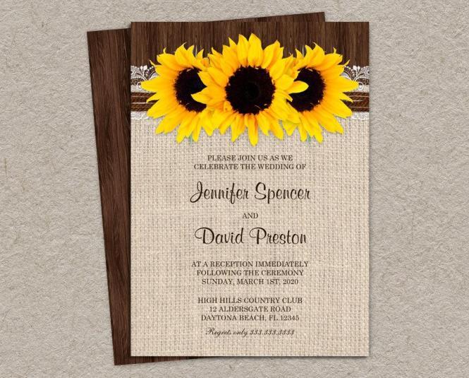 Rustic Country Sunflower Wedding Reception Invitation