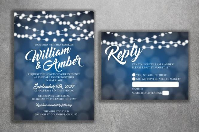 Lights Wedding Invitations Set Printed