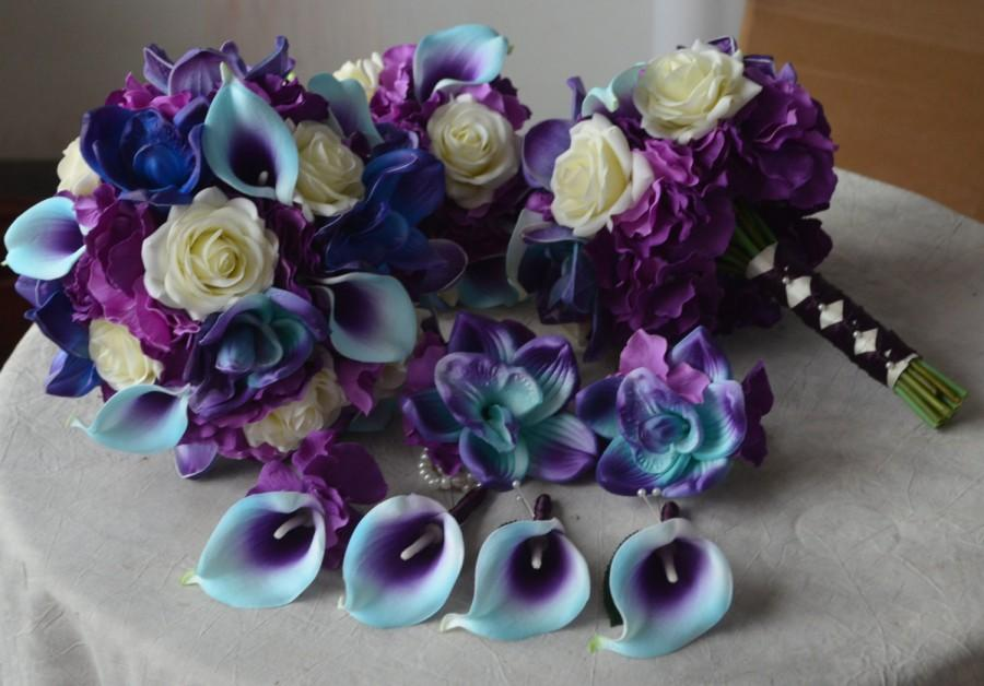 9 Wedding Bouquet Package -Real Touch Blue Purple Calla