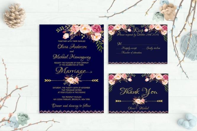 Navy Wedding Invitation Printable Fl