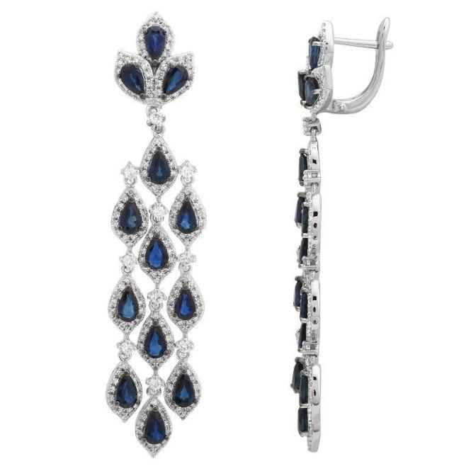 Shire Diamond Chandelier Earrings 14k White Gold Anniversary Gifts For Women