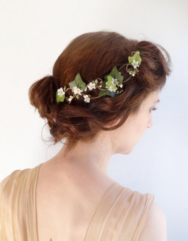 ivy hair clip, bridal hair vine, flower hair vine, ivy hair