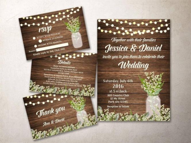 Wedding Invitation Kit Printable Rustic
