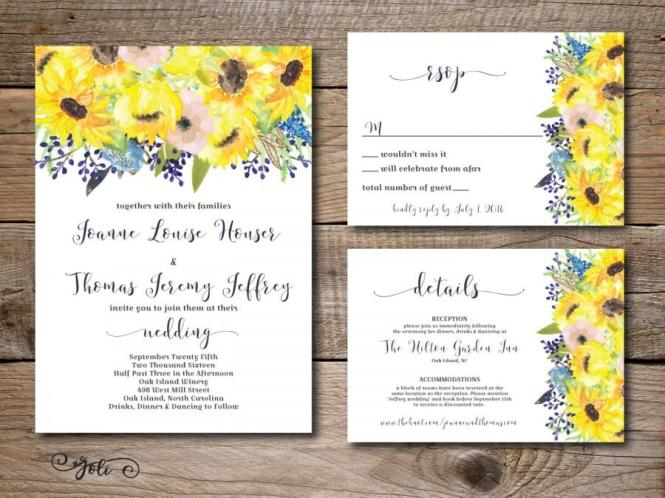 Printable Watercolor Blue And Sunflower Wedding Invitation