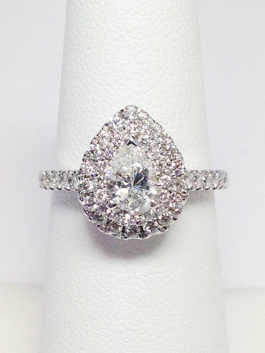 100CT Diamond Pear Shape Double Halo Engagement Ring