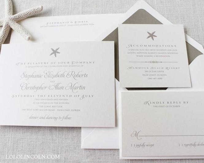 Starfish Wedding Invitations Beach