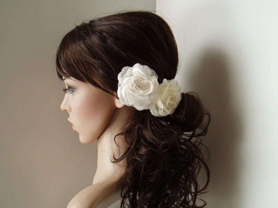 wedding hair flowers bridal hair piece flower hair pins 2 alligator clips white or ivory