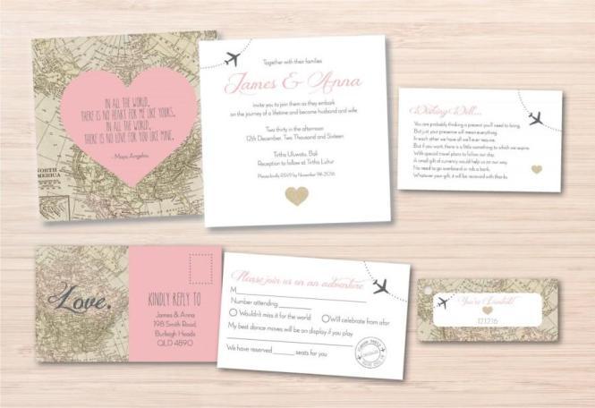 Map Wedding Invitation Destination