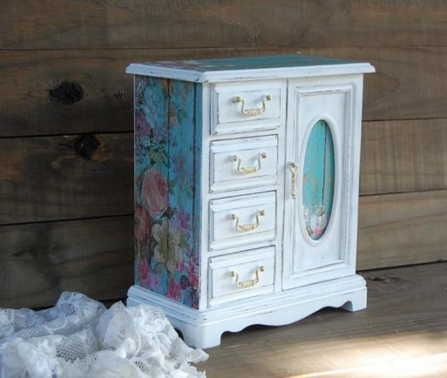 Shabby Chic Jewelry Box Jewelry Armoire White Aqua Decoupage Hand Painted Roses Wood Distressed Rustic Gift For Mom Gift For Her
