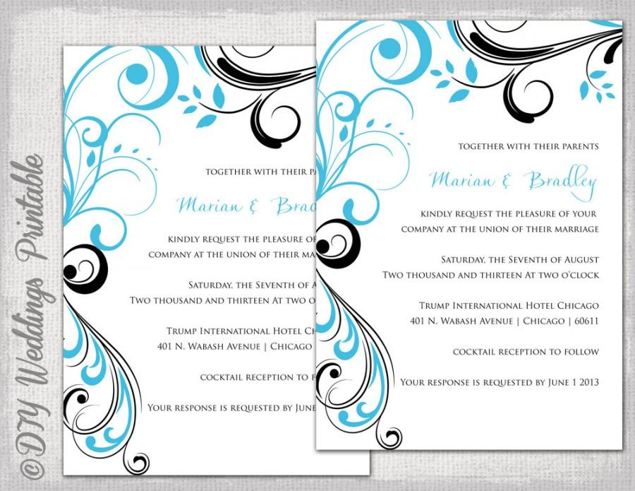 Wedding Invitation Templates Turquoise And Black Scroll