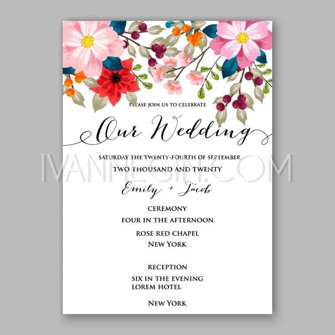 Peony Wedding Invitation Card Floral Printable Template