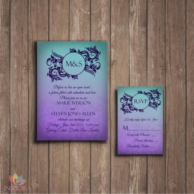 Ombre Wedding Invitation Rsvp