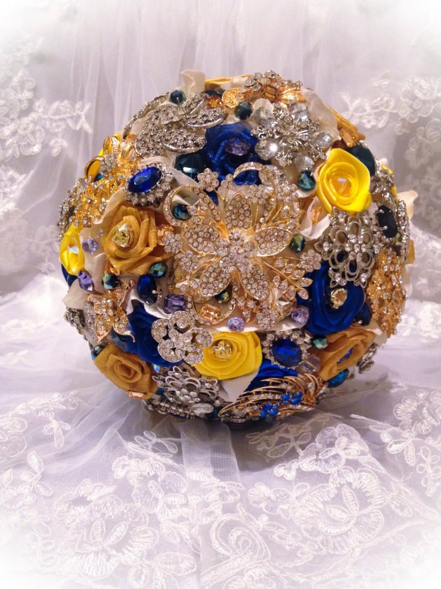 Blue Yellow Bridal Brooch Bouquet Deposit On Custom Royal