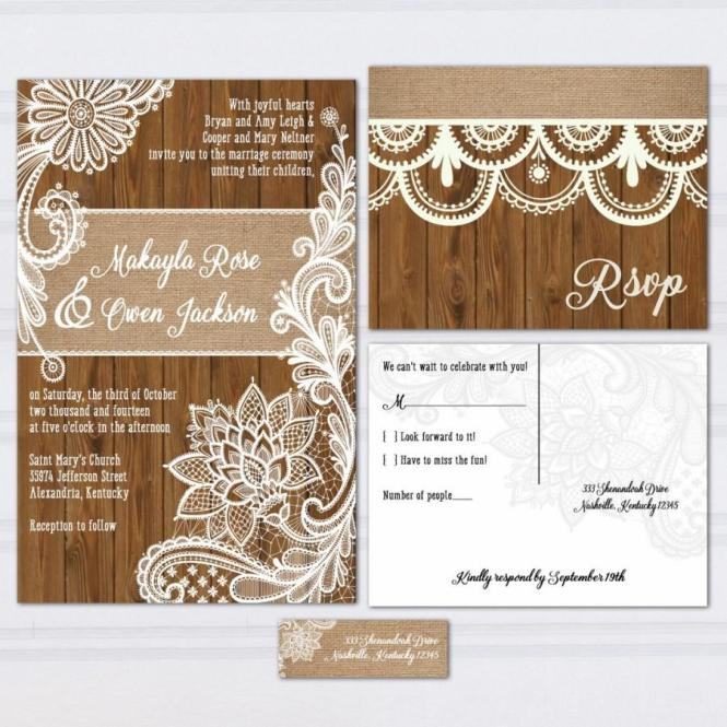 Wood Lace Wedding Invitation Suite Burlap And