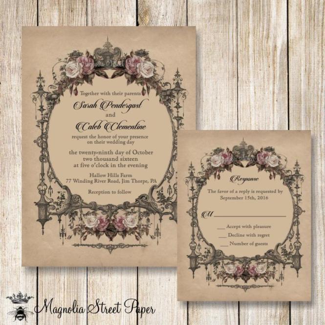 Goth Wedding Invitation Invitations
