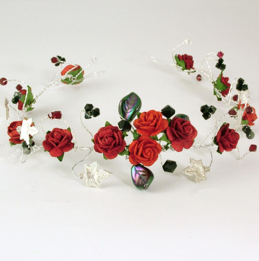 Red Rose And Silver Ivy Goth Style Wedding Hair Vinetiara