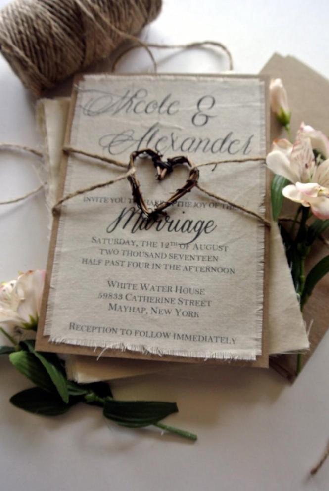 Rustic Wedding Invitation Boho Script