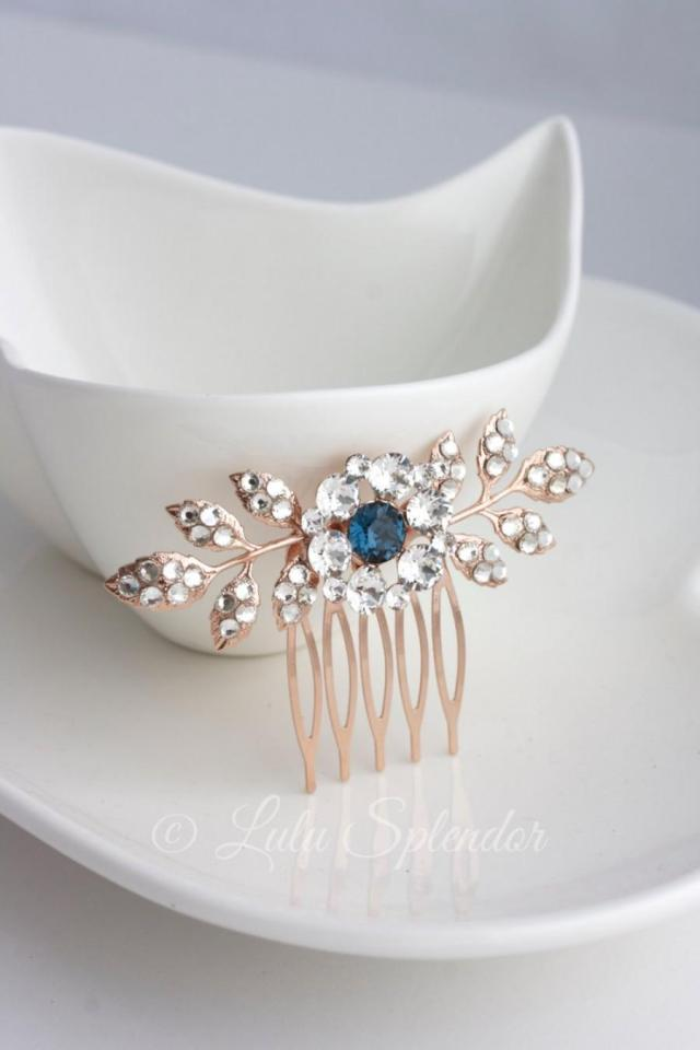 rose gold wedding comb sapphire montana blue bridal hair