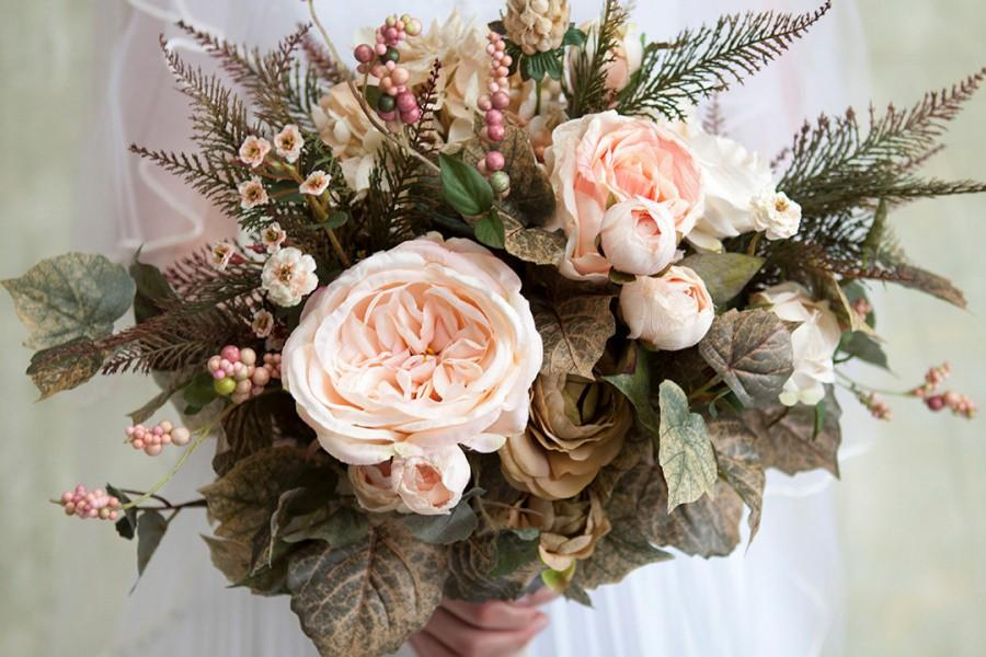 Blush Pink Cream Green Wedding Bouquet, Spring Bouquet