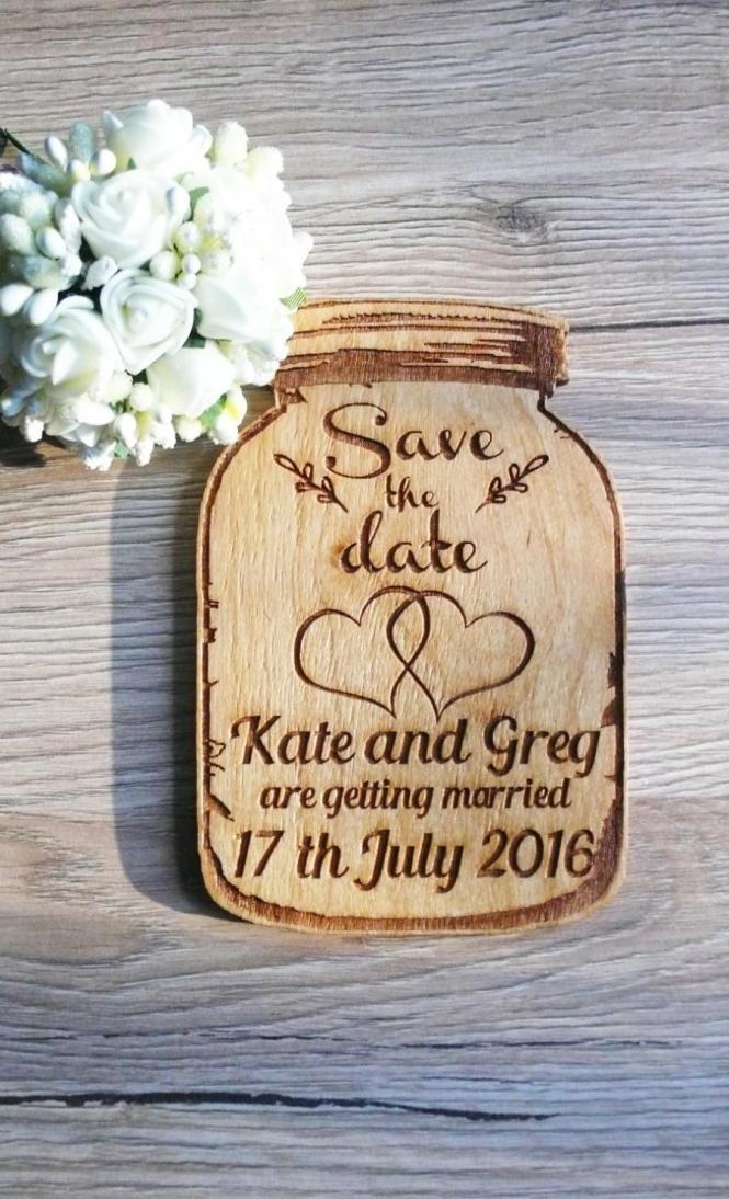 10 Mason Jar Save The Date Magnets Wood Wedding