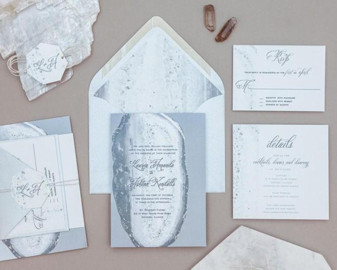Modern Geode Wedding Invitation Set Rustic Agate