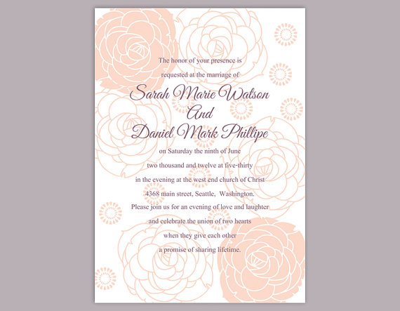diy wedding invitation template editable word file instant download printable floral invitation rose wedding invitation peach invitations 2658268 weddbook