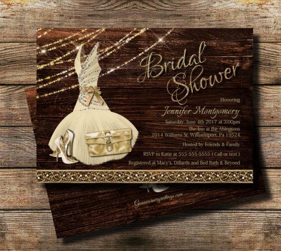 Bridal Shower Invitation Rustic Theme