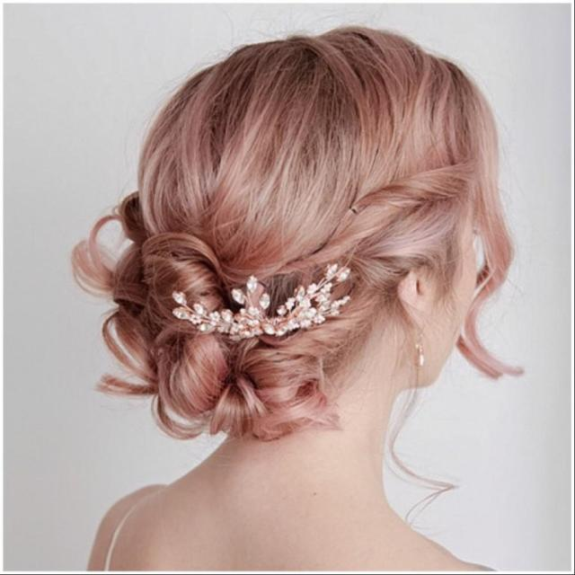 rose gold hair comb, bridal hairpiece, bridal headpiece