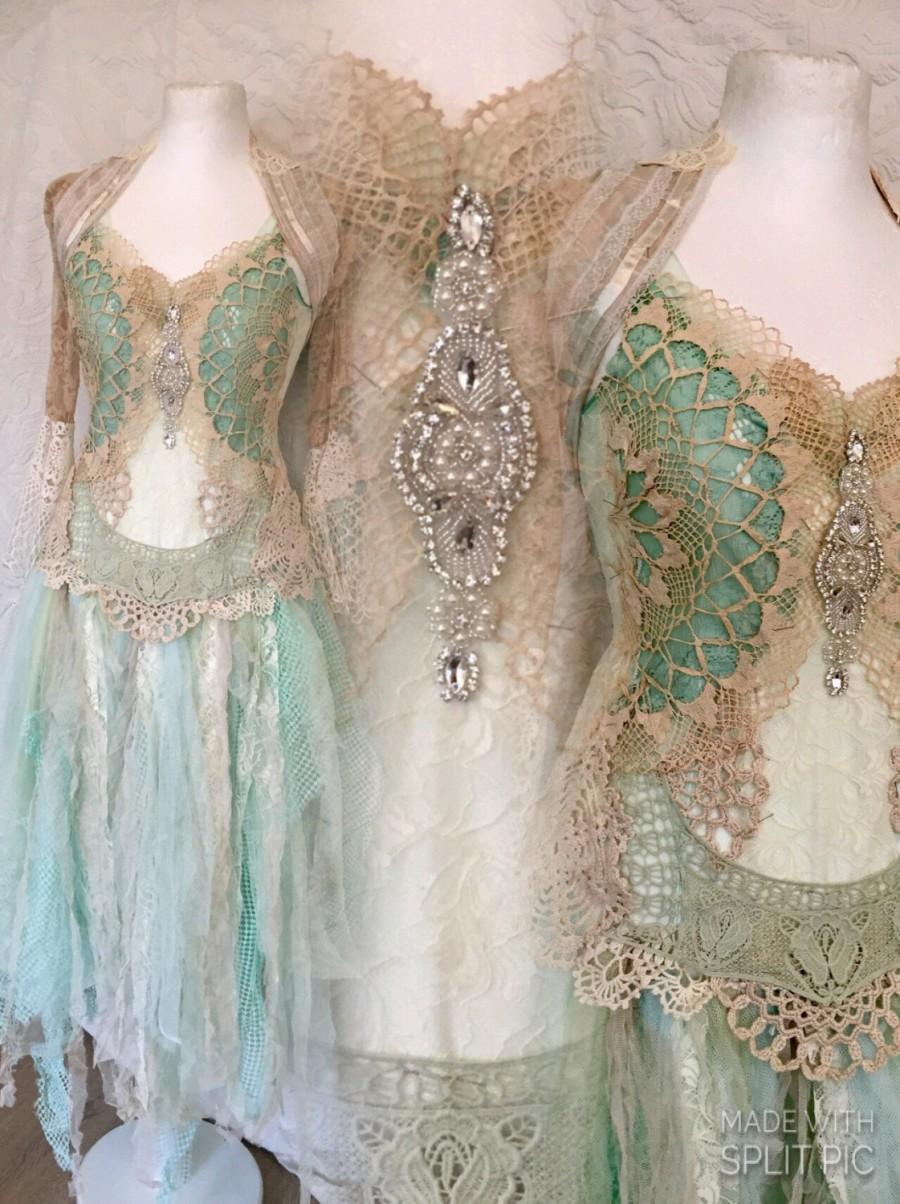 Boho Wedding Dress Aqua Colors Bridal Dress For Mermaids
