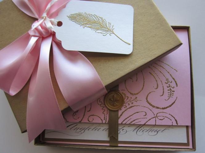 Boxed Wedding Invitation Pink Marie Antoinette Inspired