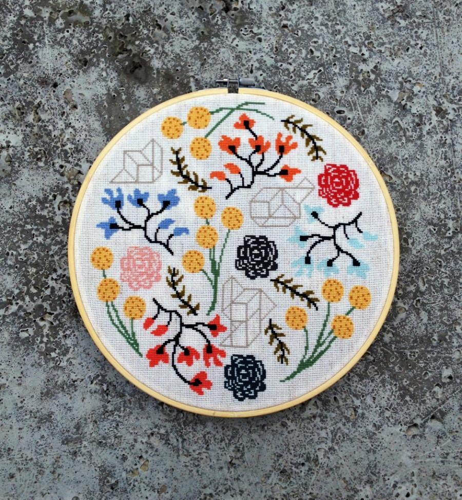 Hochzeit - Floral Boogie - Modern cross stitch pattern PDF - Instant download