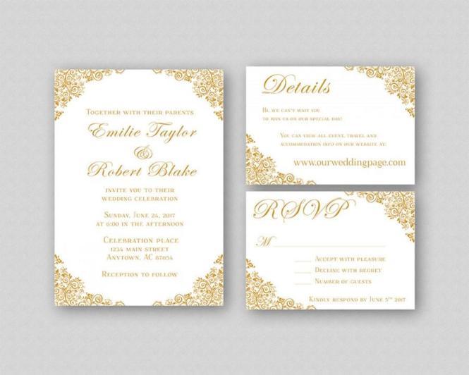 Wedding Invitations Gold Invitation Suite Elegant