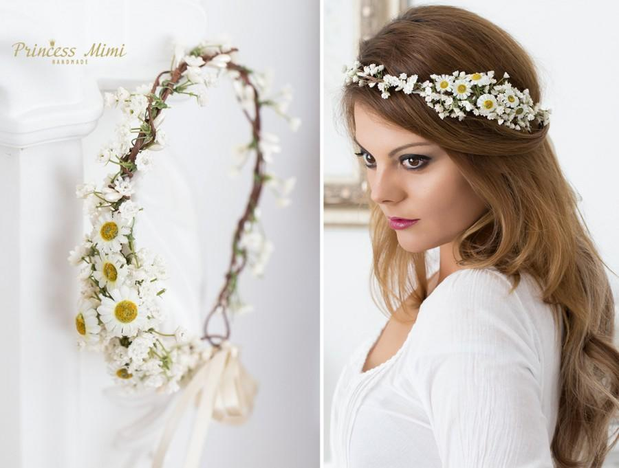 daisy flower crown wedding tiara bridal flowers fairy crown floral garland festival or bridal hair wreath hair flowers