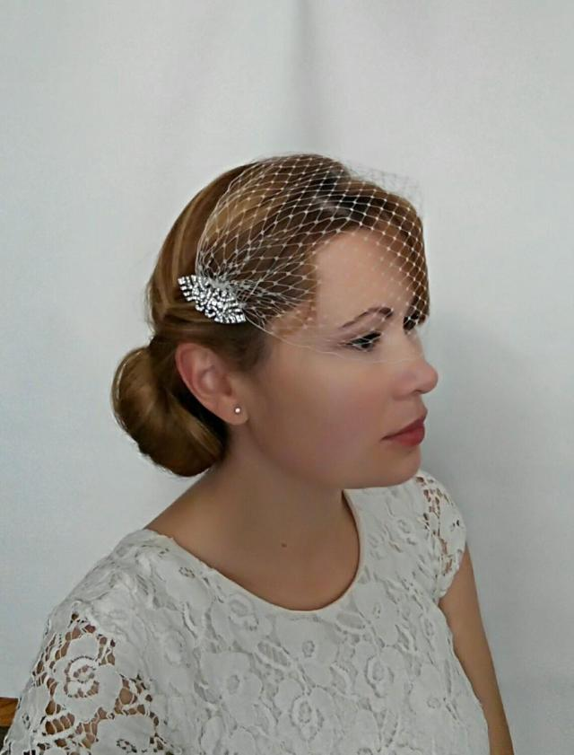 art deco birdcage veil ivory or white netting with 2 art