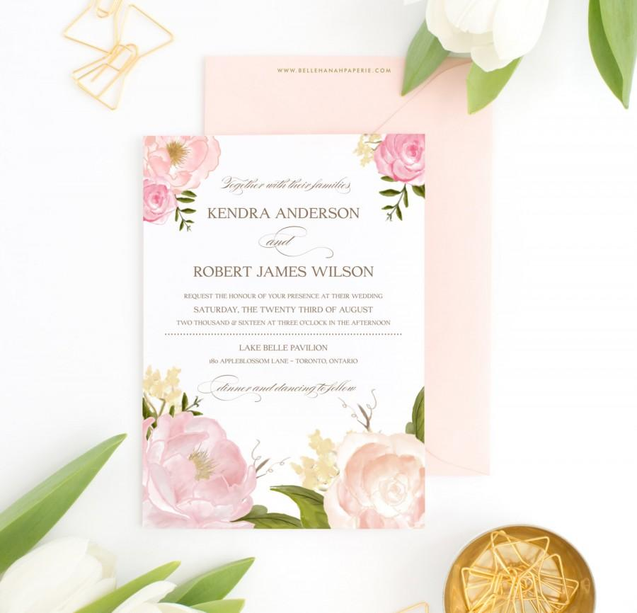 PRINTABLE Wedding Invitation Romantic Watercolor Peonies
