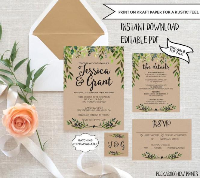 Wedding Invitation Template Set Editable Rustic Rsvp