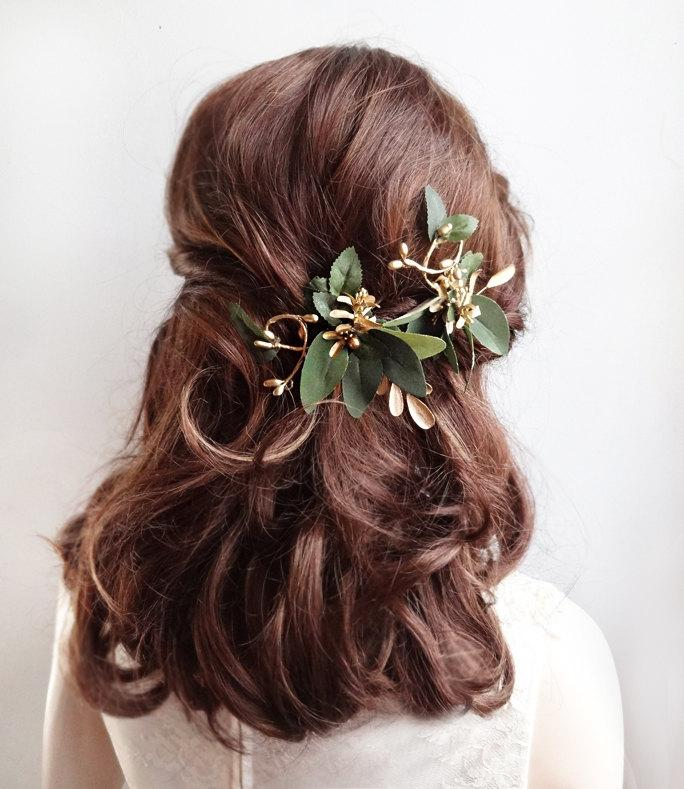 leaf hair clips gold hair vine bridal headpiece bridal hairpiece floral hair clip leaf hair piece green and gold wedding hair piece
