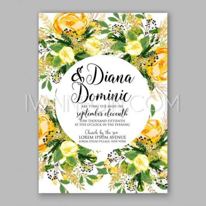 Wedding Invitation Card Template Yellow Rose Fl