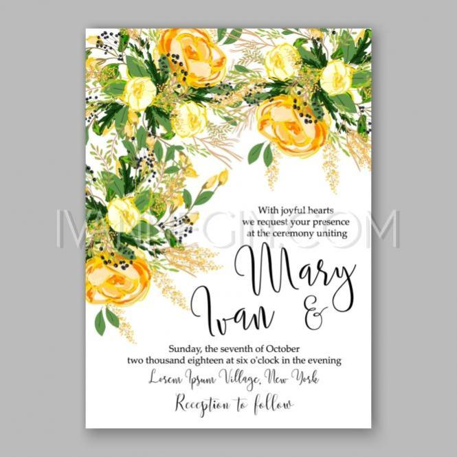 Wedding Invitation Card Template Yellow