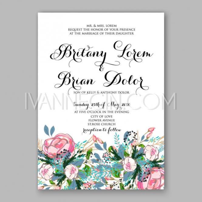 Wedding Invitation Card Template Yellow Rose Fl