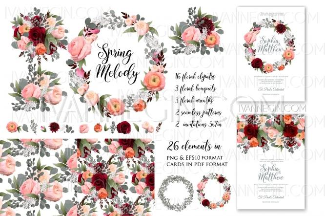 rose peony wedding invitation clipart floral set png unique vector illustrations christmas cards wedding invitations images and photos by ivan negin 2692208 weddbook