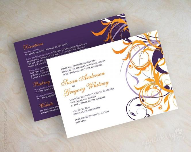Purple And Orange Wedding Invitations Invitation