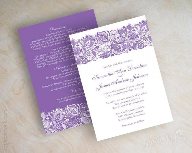 Lavender Lace Wedding Invitations Purple
