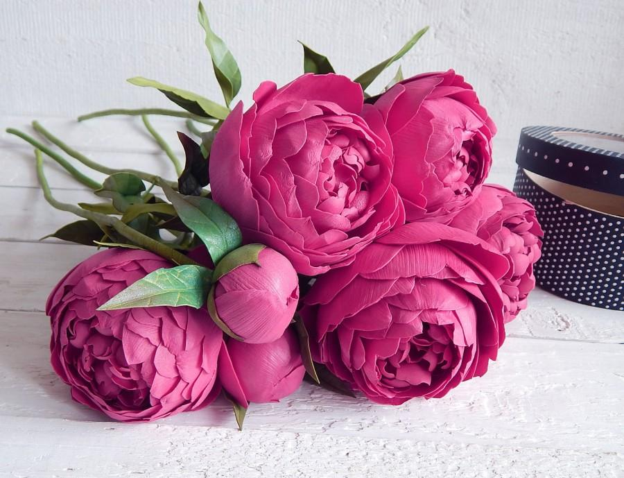 Dark Pink Bouquet, Peonies Arrangement, Wedding Floral