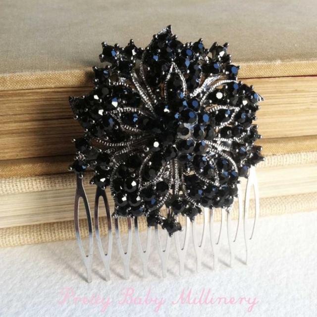 black hair accessories, vintage hair comb, black bridal