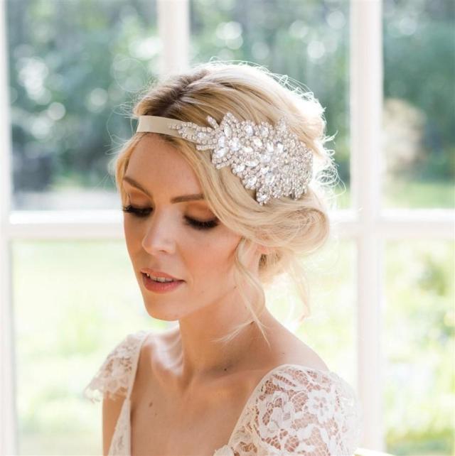sophia crystal bridal headband vintage style. handmade